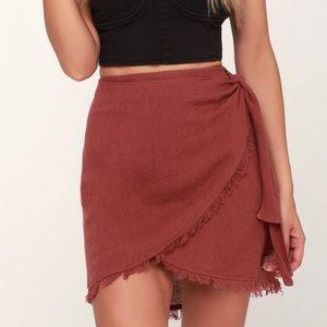 O'Neill burgundy mini wrap skirt